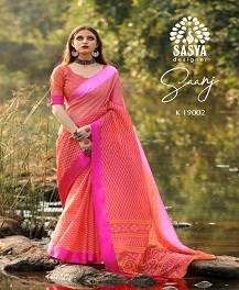 Sasya Saanj Casual Wear Linen Silk Printed Saree