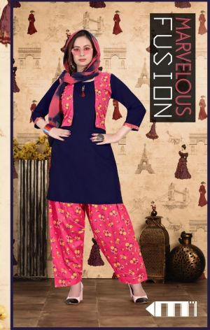 Trendy Shrug Patiyala Kurti With Attached Jacket Ready Made Collection