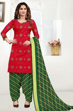 Sc Satin Top Gamthi Work Regular Wear Cotton Dress Matreial Collection