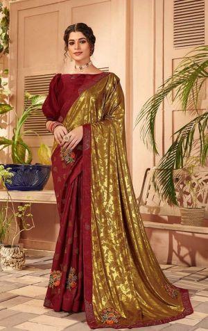 Kalista Google Party Wear Designer Vichitra Silk Saree
