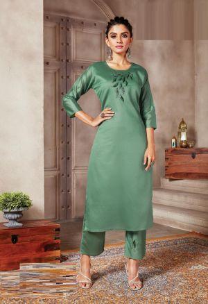 Kanasu Alisha Fancy Wear Silk Kurti With Bottom