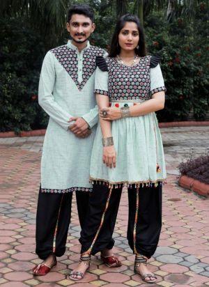Dholia Navaratri Couple Wear Dhoti With Kediya Collection
