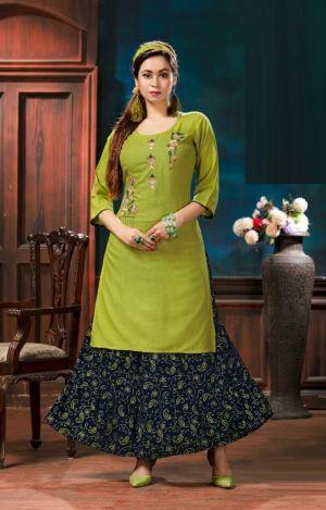 Mayra Breeza 2 Rayon Kurti With Skirt Collection