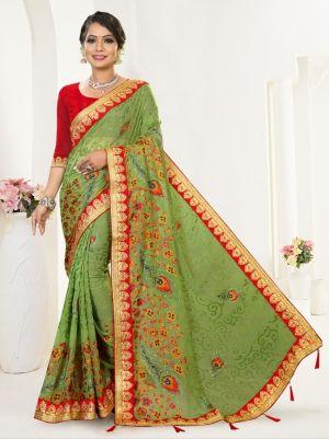 Ronisha Defense Traditional Wear Brasso Saree Collection