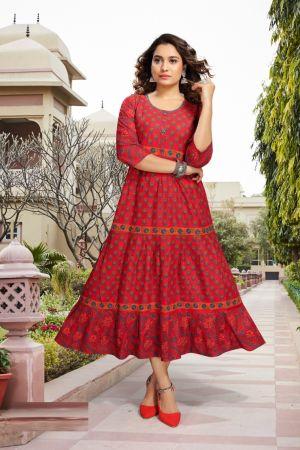 Precious 2 Fancy Wear Printed Anarkali Kurti Collection