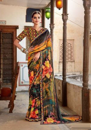 Laxminam Ramayan Casual Wear Georgette Saree Collection