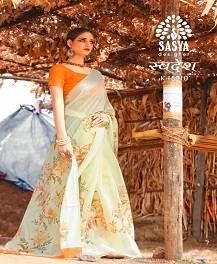 Sasya Swadesh Designer Printed Linen Silk Saree Collectio