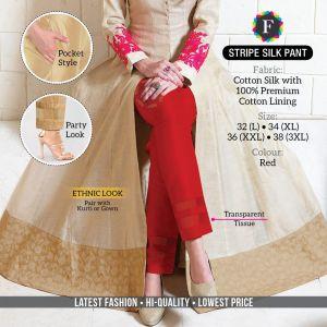 Stripe Silk Pant Stylish Cotton Silk Pant Collection
