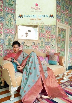 Rajtex Kanvas Linen Festive Wear Linen Saree