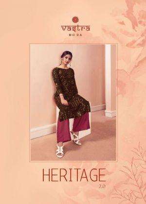 Vastra Heritage 2 Premium Rayon Flex Gold Printed Straight Kurti