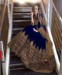 Kb 1022 Blue Wedding Wear Anarkali Suit Single