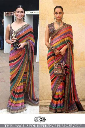 Alia Digital Printed Rich Look Party Wear Saree Collection
