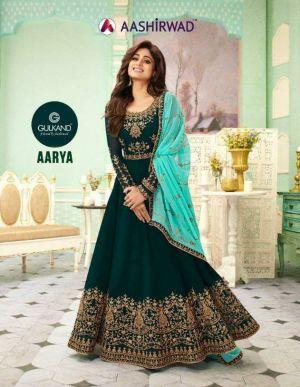 Aashirwad Aarya Real Georgette Heavy Embroidered Salwar Suits