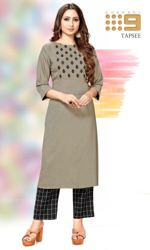 C9 Tapsee Heavy Rayon Kurti With Cotton Pants