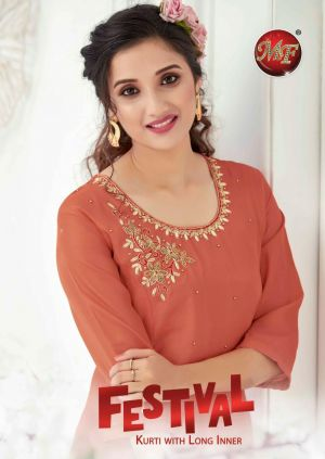 Mf Festival Stylish Tussar Silk Designer Kurti Collection