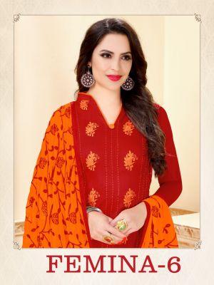 Femina 6 Designer Glace Cotton Dress Material
