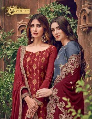 Swagat Violet 6701 Series Pure Dola Jacquard Salwar Suits