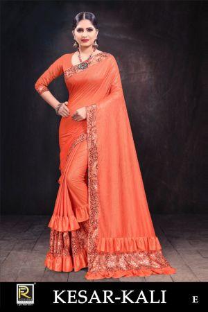 Ronisha Kesar Kali Raffle Designer Saree