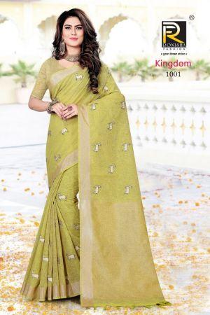Ronisha Kingdom Cotton With Embroidery Work Saree