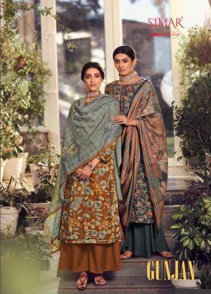 Glossy Simar Gunjan 774 Series Designer Embroiderd Pashmina Dress Material Collection