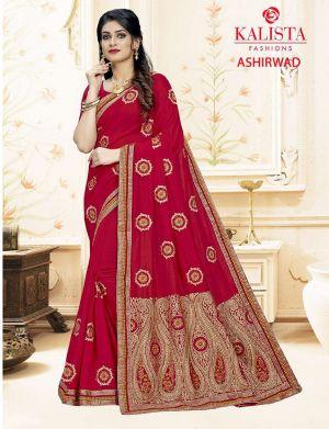 Kalishta Ashirwad Georgette Wedding Wear Vichitra silk Saree Collection