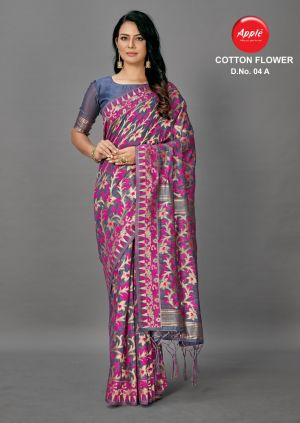 Apple Cotton Flower 4 Casual Printed Saree Collection