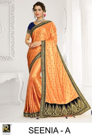Ronisha Seenia Festive Wear Embroidery Worked Saree Collection