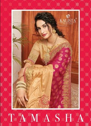 Kalista Tamasha Festive Wear Embroidery Worked Sarees Collection