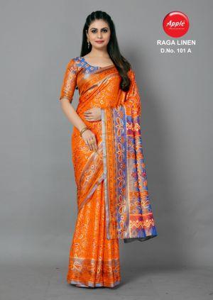 Raga Linen 101 Casual Wear Printed Sarees Collection