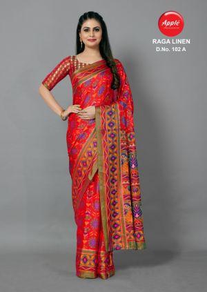 Apple Raga Linen 102 Casual Wear Printed Sarees Collection