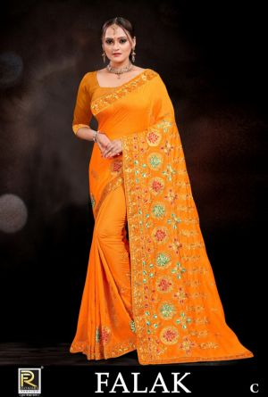 Ronisha Falak Embroidery Worked Saree Collection