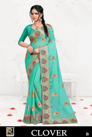 Ronisha Clover Embroidery Worked Saree Collection