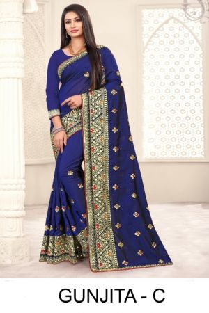 Ronisha Gunjita Embroidery Worked Saree Collection