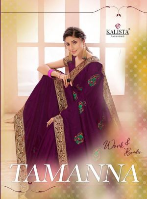 Kalista Tamanna Festive Wear Embroidery Worked Sarees Collection