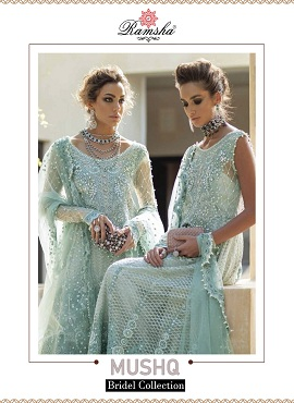 Ramsha Mushq Heavy Net With Embroidery Pakistani Salwar Suits Collection