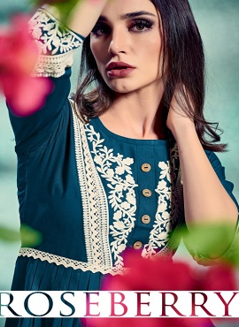 Roseberry 1 Ethnic Wear Embroidery Kurtis Collection