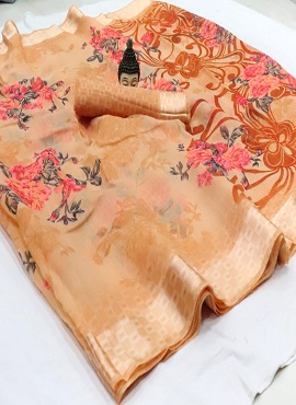 Pink Flower Casual Wear Printed Cotton Sarees Collection