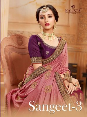 Kalista Sangeet 3 Embroidery Worked Sarees Collection