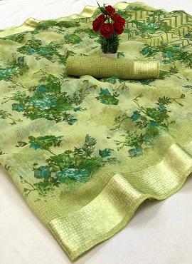 Satin Patta Patti Guldasta Floral Printed Saree Collection