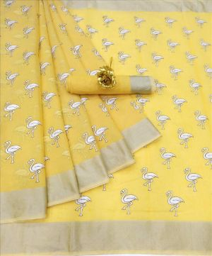Linen Chakli Casual Wear Printed Sarees Collection