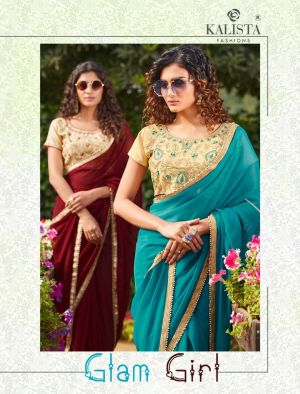 Kalista Glam Girl Fancy Embroidery Worked Sarees Collection
