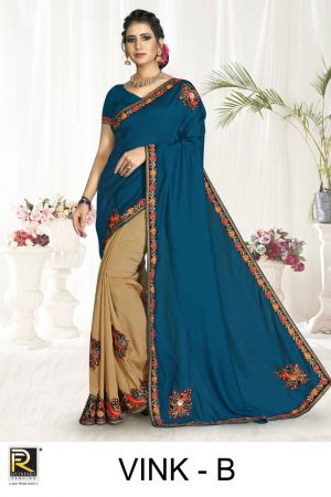 Ronisha Vink Casual Wear Embroidery Worked Sarees Collection