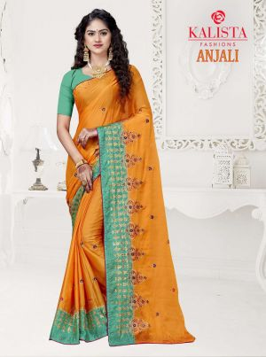Kalista Anjali Festive Wear Embroidery Worked Sarees Collection