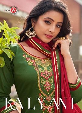 Triple Aaa Kalyani Embroidery Work Designer Salwar Suits Collection