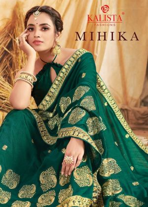 Kalista Mihika Festive Wear Embroidery Worked Sarees Collection