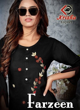 Krisha Farzeen Rayon Slub With Handwork Designer Kurtis Collection