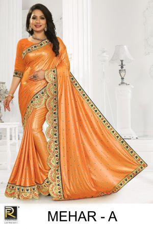 Ronisha Mehar Festive Wear Embroidery Worked Saree Collection