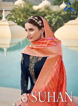 Alisa Suhan 5 Satin Designer Dress Material Collection