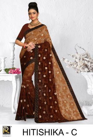 Ronisha Hitishika Casual Wear Brasso Sarees Collection