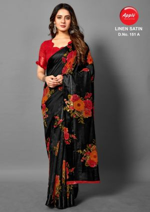 Apple Linen Satin 151 Casual Wear Printed Saree Collection
